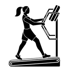 Girl on a treadmill icon simple style vector