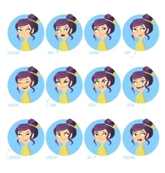 Girls facial expressions vector image