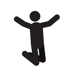 Glad jumping person silhouette icon vector