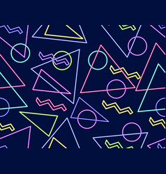 glowing neon shapes on a black background vector image