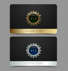 Golden and platinum vip card template vector