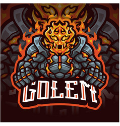 golems esport mascot logo design vector image