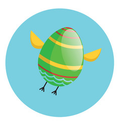 green easter egg with chicken wings and legs vector image