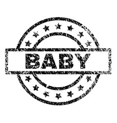 Grunge textured baby stamp seal vector