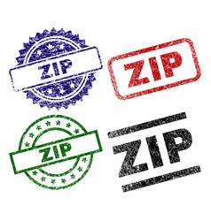 Grunge textured zip stamp seals vector