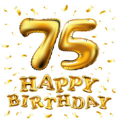 Happy birthday 75th celebration gold balloons and vector