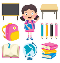 happy cute cartoon school childschool child vector image