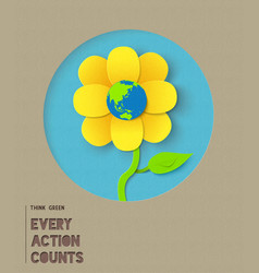happy earth day paper flower quote vector image