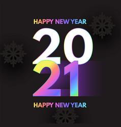 happy new 2021 year elegant design with neon vector image