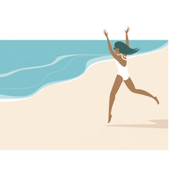 happy summer girl running to sea vector image