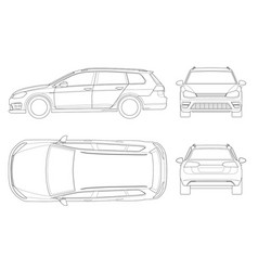 Hatchback car in outline compact hybrid vector