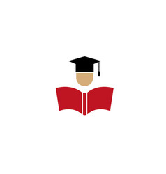 head with graduation hat open book for logo design vector image