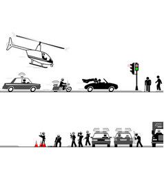 High-speed chase through streets vector