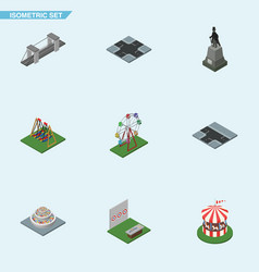 Isometric urban set of highway crossroad vector
