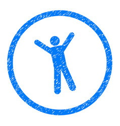 Joy person pose rounded grainy icon vector