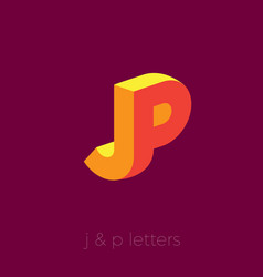jp logo letters orange yellow emblem vector image