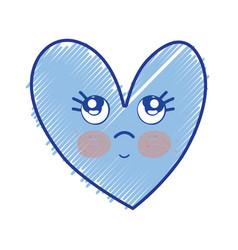 kawaii cute thinking heart design vector image