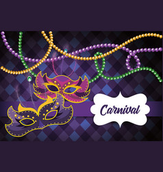 Label with mardi gras masks to event vector