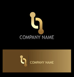 line dot technology connection gold logo vector image