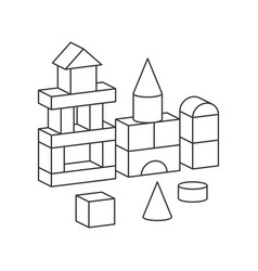 Line style toy building tower for vector