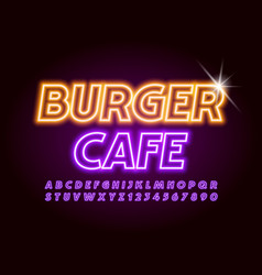 logo burger cafe violet illuminated font vector image