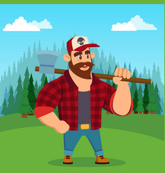 lumberjack worker with axe in green forest vector image