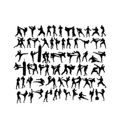 Martial art sport silhouettes vector