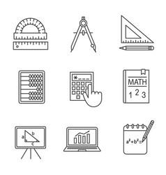 Mathematics linear icons set vector