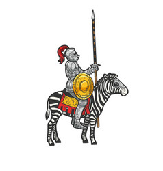 medieval knight riding a zebra sketch vector image