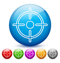 Modern glossy target or crosshair icons in 6 vector