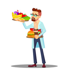 Nutritionist with fruits and hamburgers in hands vector