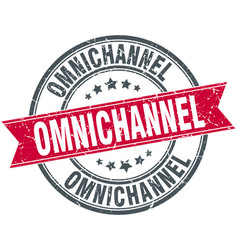 Omnichannel round grunge ribbon stamp vector