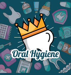 oral hygiene tooth in crown dentistry elements vector image