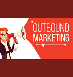 outbound marketing banner female with vector image
