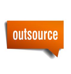Outsource orange 3d speech bubble vector