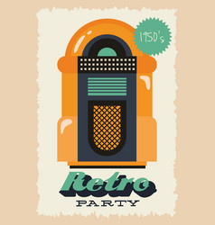 Party retro style poster with jukebox and entrance vector