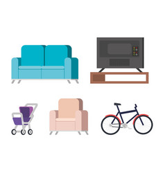 Plasma tv back in livingroom and set icons vector