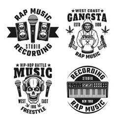 rap and hip-hop four monochrome emblems vector image