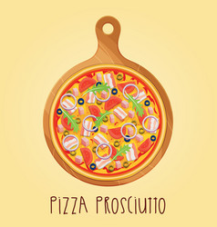 Real pizza prosciutt on wooden board vector