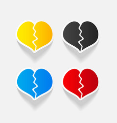 Realistic design element broken heart vector
