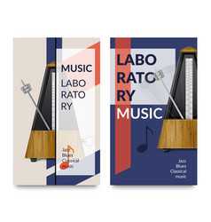 realistic metronome music notes banner set vector image
