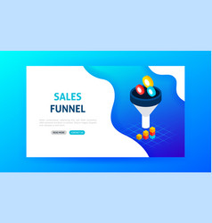 sales funnel landing page vector image