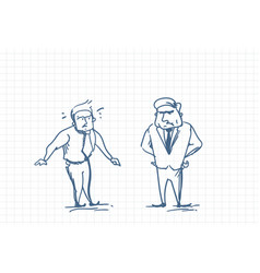 scared business man talking with angry boss doodle vector image