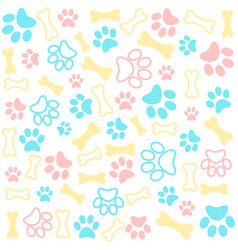 seamless animal pattern of paw footprint vector image