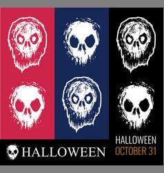 set for halloween creepy zombie vector image