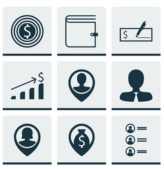 set of 9 hr icons includes manager successful vector image