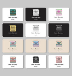 set of business cards with hand drawn vintage vector image