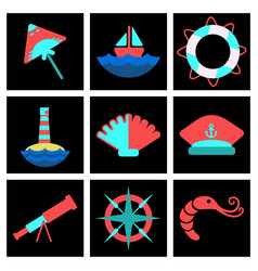 set of sea simple icons vector image