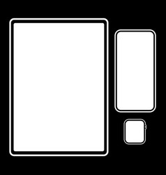 set templates tablet smartphone watch on a vector image