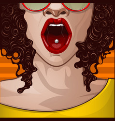 sexy colored skin girl with an open mouth pop art vector image